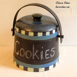 Painted Vintage Wood Canister