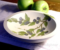 Painted Wood Bowl Blackberries