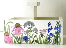 Painted Planter Tote Garden Flowers