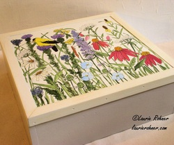 Large Painted Wood Box Garden Flowers