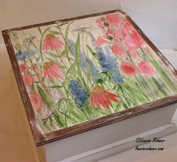 Large Painted Wood Box Watercolor Garden Flowers
