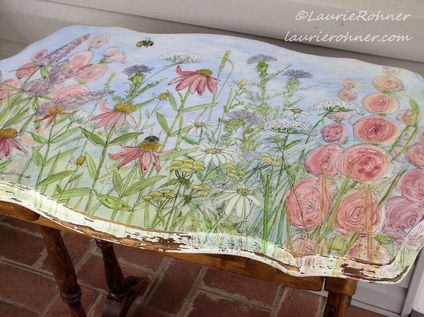 watercolor painted table