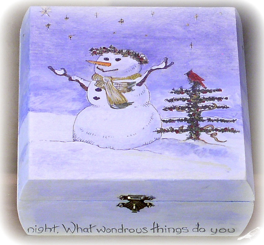 Box Painted with Snowman
