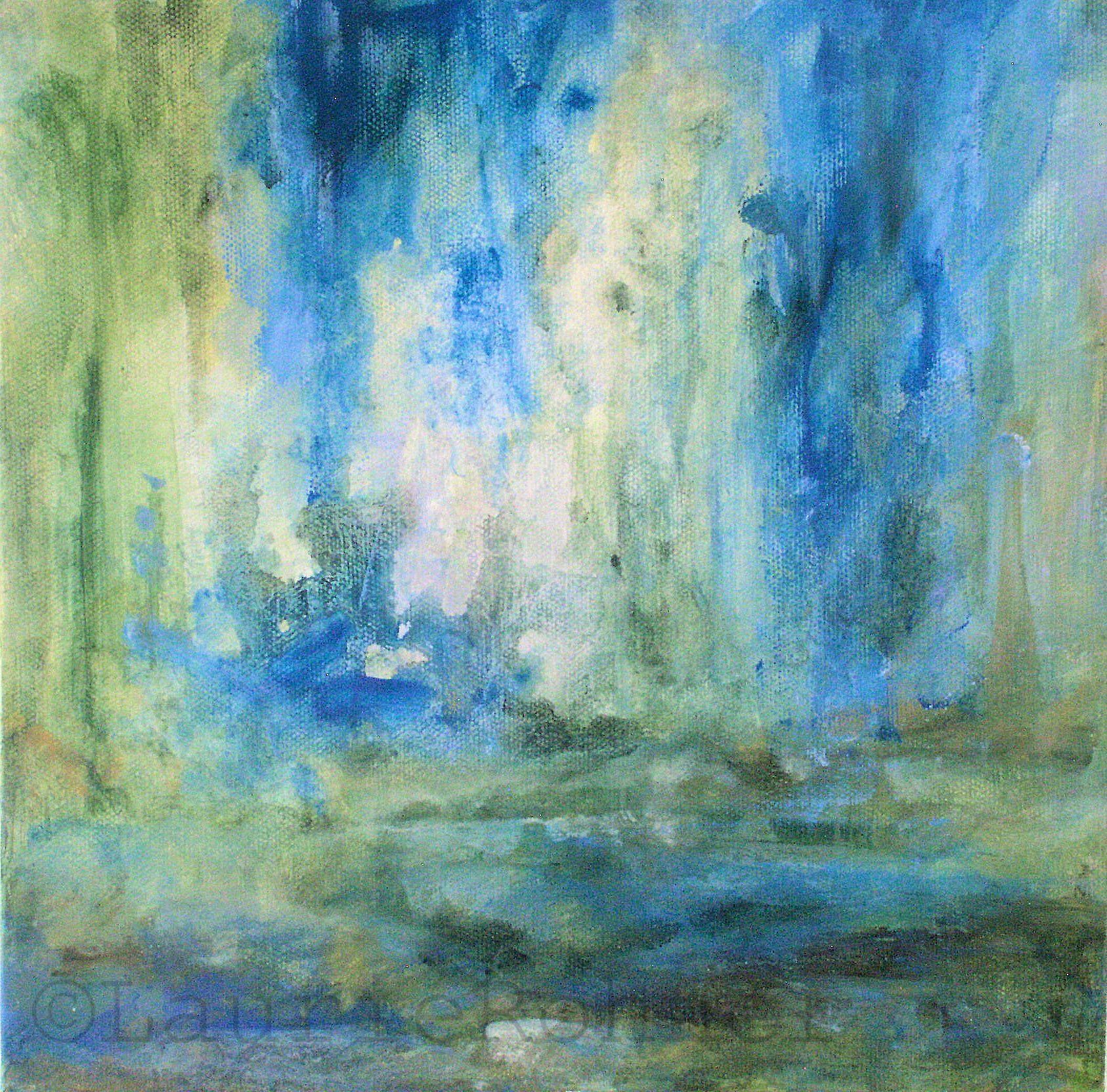 Abstract nature art acrylic painting spring rain for Abstract nature painting