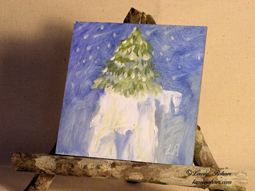 Whimsical Snow Tree Mountain Painting Original Oil