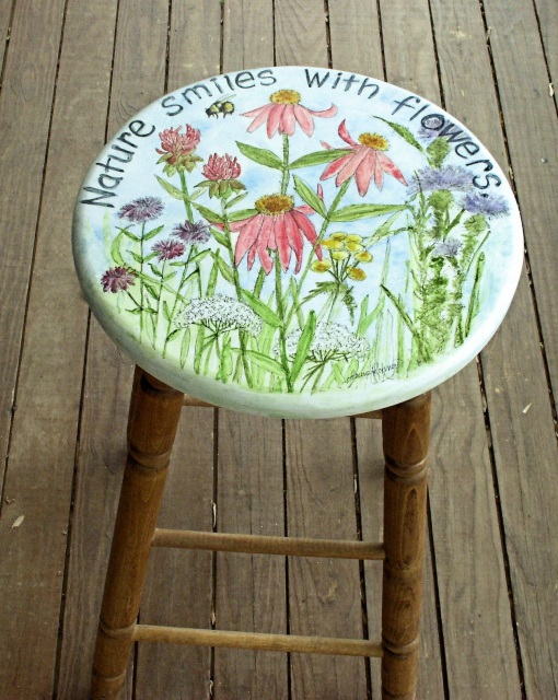 Hand Painted Furniture Garden Flowers 30 Quot Bar Stool