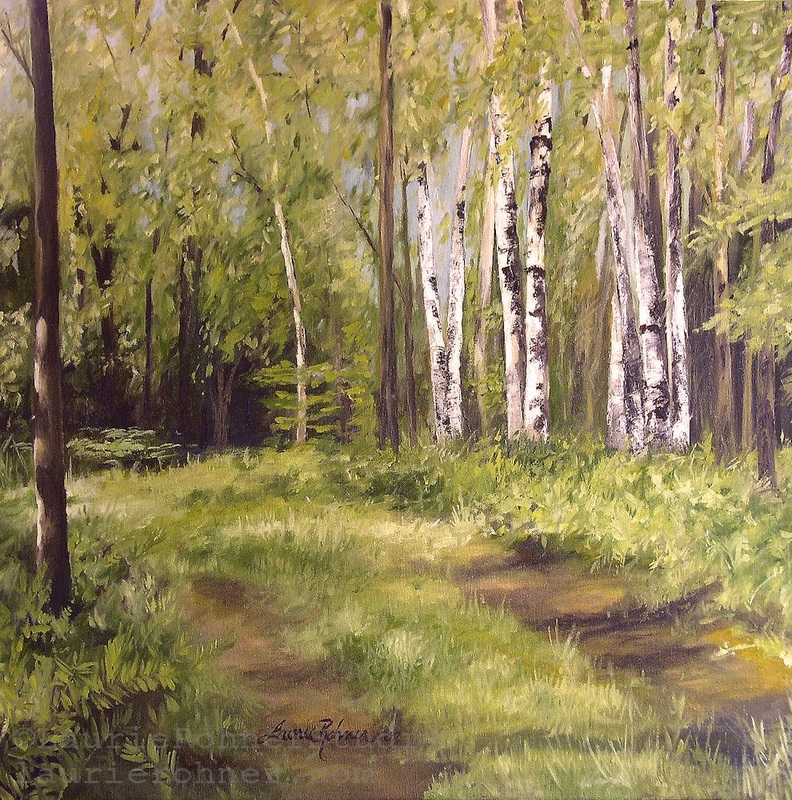 Birch Trees Forest Landscape Oil Painting Nature Art