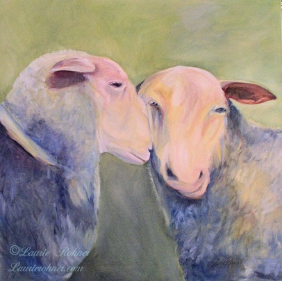 Two sheep original oil painting