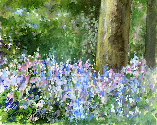 Watercolor landscape bluebells