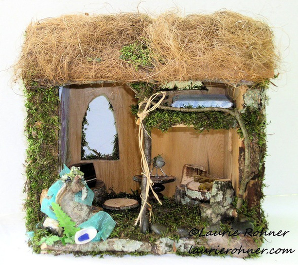 woodland fairy houses by Laurie Rohner.