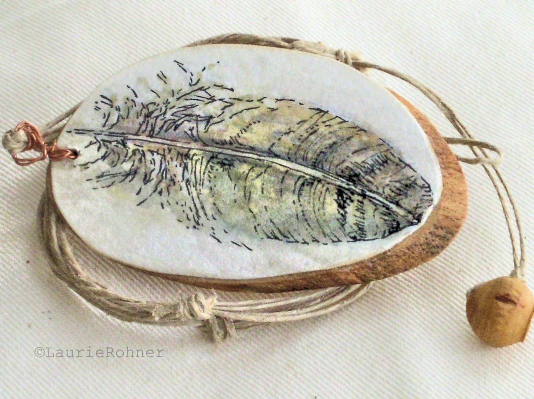 Illustrated feather necklace