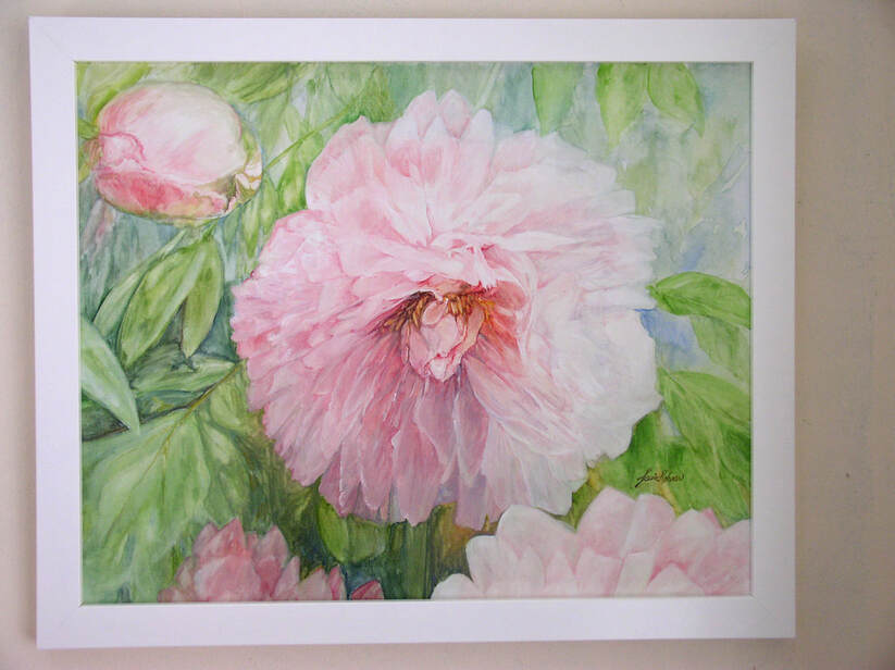 pink peony watercolor on panel by Laurie Rohner