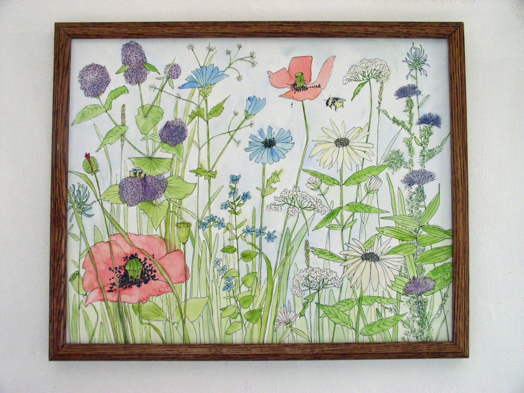 wildflower watercolor on panel by Laurie Rohner