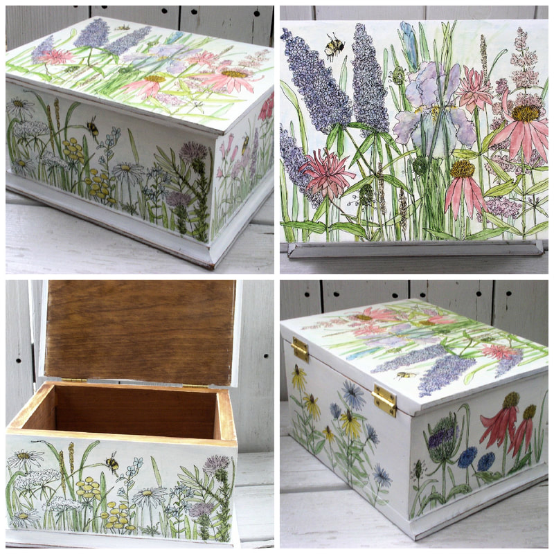 watercolor flowers on painted box