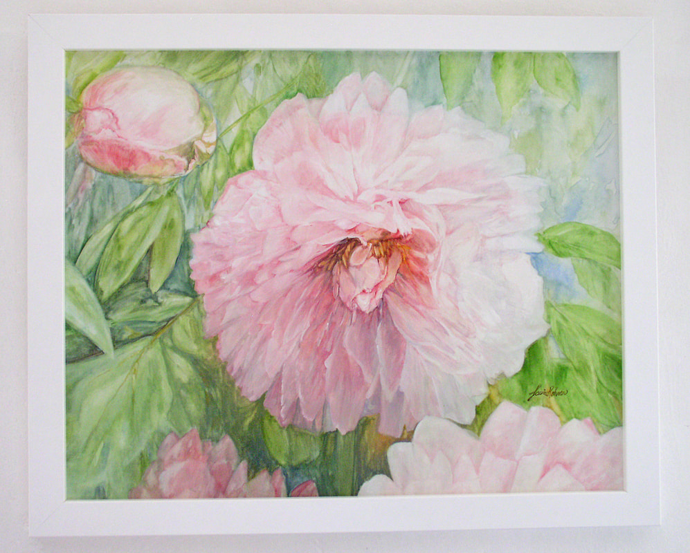 pink peonies watercolor on panel by Laurie Rohner