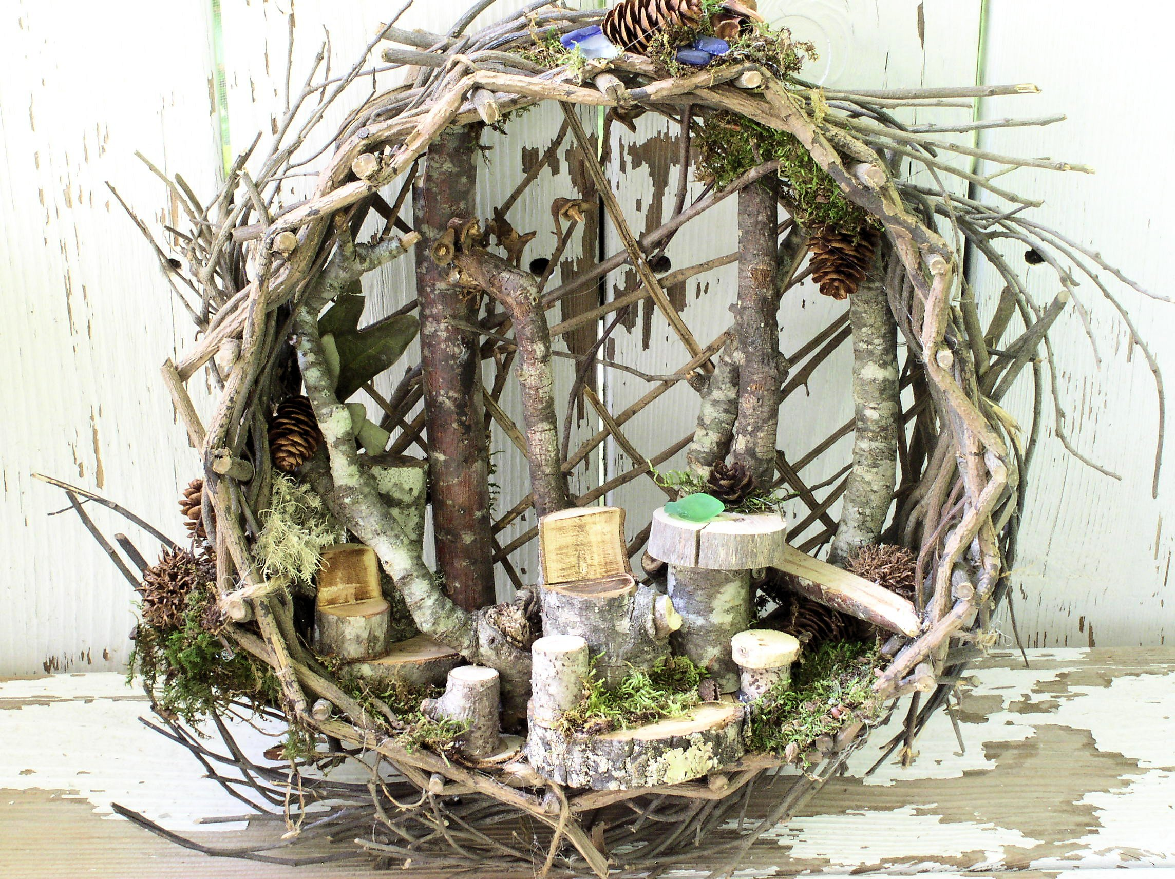 Sold Whimsical Woodland Fairy House Nature Art Basket With